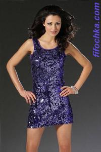 Блестящее фиолетово-черное коктейльное платье
