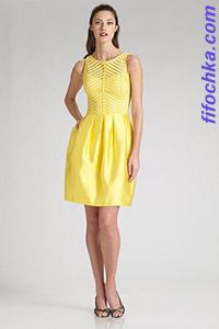 Желтое платье в стиле ретро